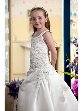 Appliques Beading Straps Flower Girl Dress