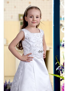 A-line Square Brush Train Flower girls Dress 2013 style