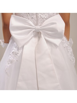 Cute Sleeveless Zipper-Up Floor-Length Bowknot Flower Girl Dress