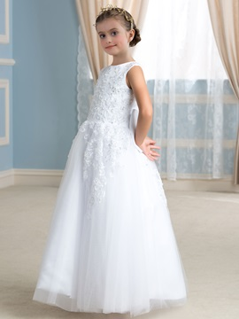 Beaded Lace Top Bowknot White Tulle Flower Girl Dress