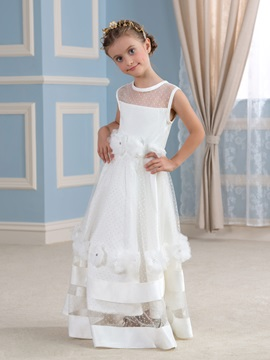 Cute Floor Length A-Line Floral Tiered Flower Girl Dress