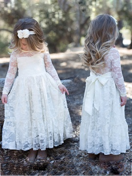 Long Sleeve Sashes Lace Girl's Party Dress