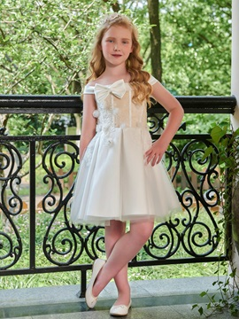 Parent-Child Off the Shoulder Appliques First Communion Dress