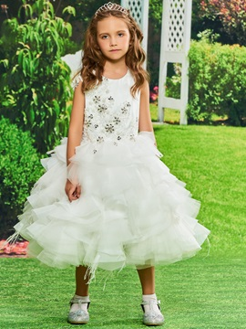Ball Gown Beaded Tiered Flower Girl Dress