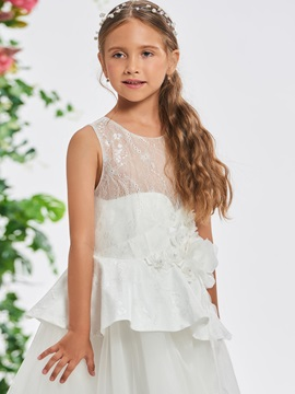 Beaded Flowers Lace Top Girl's Party Dress