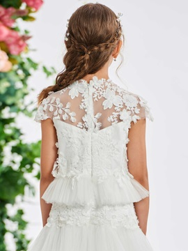 Lace Appliques Tiered Flower Girl Dress