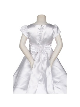 A-line Floor-length Short Sleeves Bowknot & Lace Flower Girl Dress