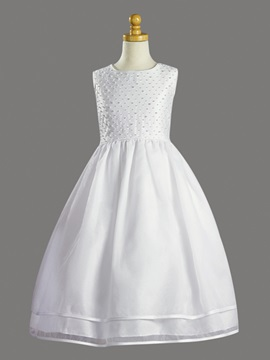 Elegant Ball Gown Scoop Sleeveless Flower Girl Dress