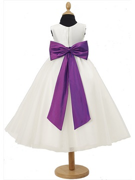 Charming A-line Scoop Sash Tea-length Flower Girl Dress