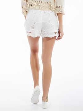 Slim Lace-Up Hollow Lace Shorts
