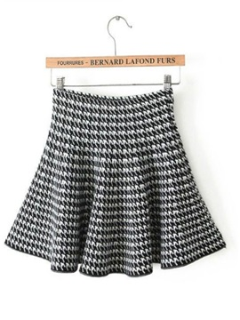 Brilliant All-matched Black Houndstooth Mini Skirt