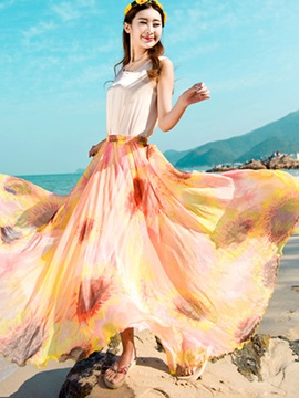 Floral Printing Pleated Beach Long Skirt