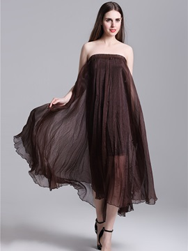 Mesh Pleated Solid Color Long Skirt