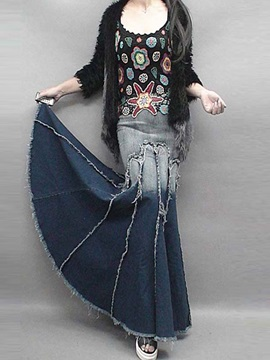 Gradient Denim Worn-Out Pleated Long Skirt