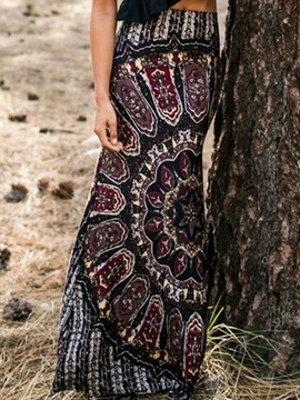 Ethic Floral Printing Long Skirt
