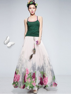 Ethic Floral Printing Strap Pleated Long Skirt