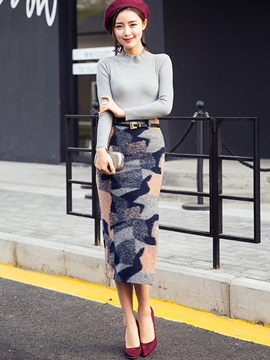 Geographic Printed Slim Sheath Skirt