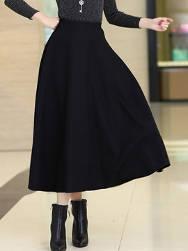 Solid Color Long Maxi Winter Skirt
