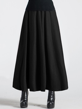 Pleated Solid Color Winter Long Skirt
