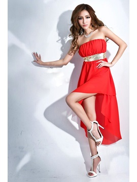 Sexy Solid Color Strapless High-Low Short Day Dress