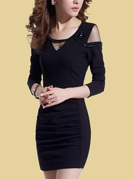 Solid Cold Shoulder Long Sleeve Sexy Dress