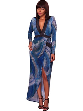 Sexy Floral Imprint V Neck Long Sleeves Women's Maxi Dress