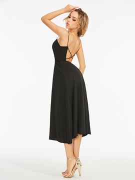 Tidebuy Plain Backless Hollow Women's A-Line Dress