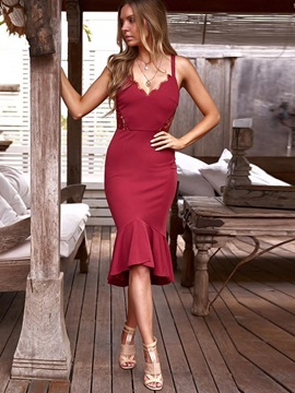 Knee-Length Mermaid Sleeveless Spaghetti Strap Women's Bodycon Dress