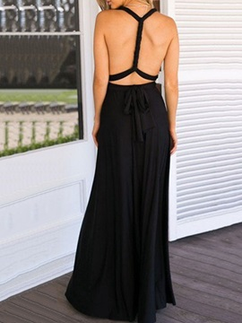 Sleeveless Lace-Up Floor-Length Expansion Sexy Women's Dress