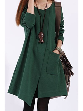 Leisure Long Sleeve Cotton Casual Dress