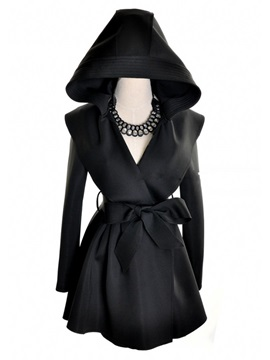 Vogue Style Pure Color Hooded Long Trench Coat