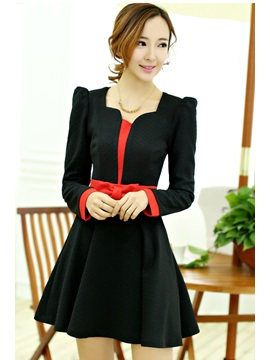 Multi-Color Long Sleeve Round Neck Bowknot Dress