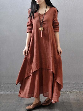 Plain Long Sleeve Loose Women's Casual Dress