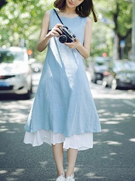 Mori Girl A- line cotton Sleeveless casual dress
