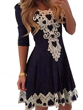 Sleeves Lace Patchwork Women's Day Dress