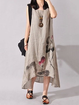 Scoop Sleeveless Print Casual Fit Maxi Dress