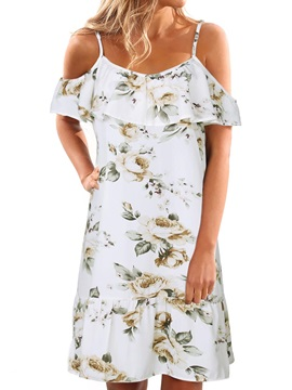 Floral Cold Shoulder Falpala Women's Day Dress