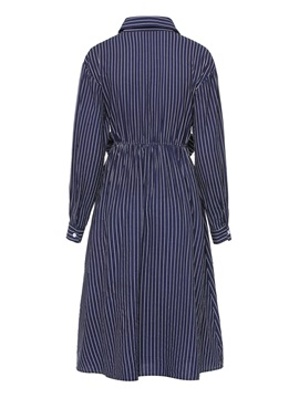Long Sleeve Button Polyester Stripe Women's Day Dress