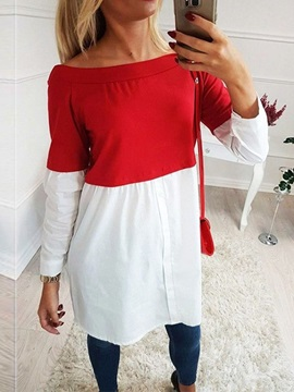 Long Sleeve Patchwork Off Shoulder Color Block Women's Casual Dress