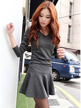 New Lovely Falbala Slim Long Sleeves Pleated Pure Color Dress