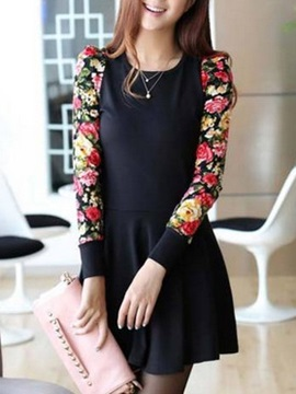 Authentic Split Joint Round Neckline Long Sleeves Petty Flowers Dress