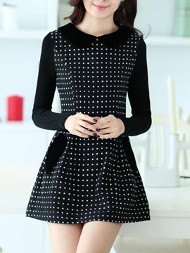 Patchwork Polk Dot Long Sleeve Doll Collar Sweater Dress