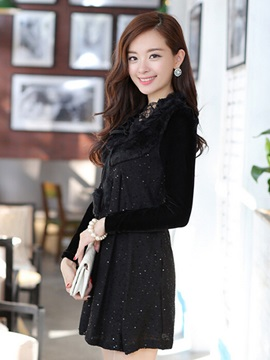 Chic Lace-Up Pleated Sweater Dress