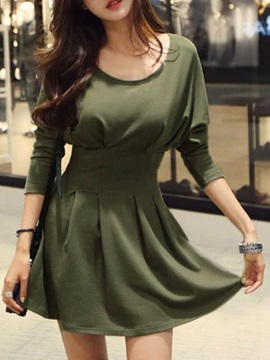 Solid Empire Waist Skater Dress