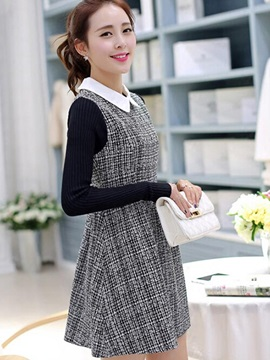 Contrast Color Long Sleeve Sweater Dress