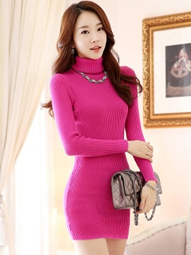 Turtleneck Solid Color Sweater Dress