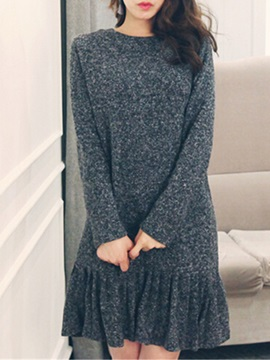 Solid Round Neck Long Sleeve Sweater Dress