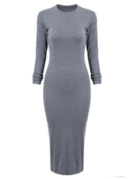 Solid Long Sleeve Sweater Dress
