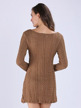 Plain Long Sleeve Round Neck Sweater Dress