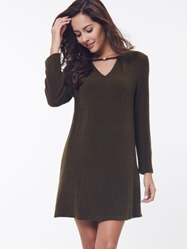 Solid Color Chic V-Neck Sweater Dress